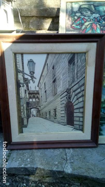 Arte: Pintura realista al oleo de la calle del Bisbe (carrer del Bisbe) de Barcelona Nuria Collado. cuadro - Foto 18 - 142051982