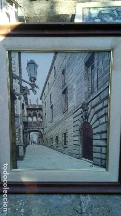 Arte: Pintura realista al oleo de la calle del Bisbe (carrer del Bisbe) de Barcelona Nuria Collado. cuadro - Foto 19 - 142051982