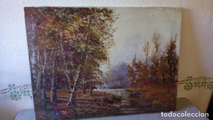 Arte: Antiguo cuadro al oleo de paisaje de bosque y rio con chopos de autor anonimo - Foto 3 - 142762026