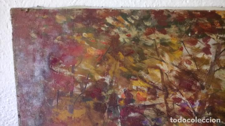 Arte: Antiguo cuadro al oleo de paisaje de bosque y rio con chopos de autor anonimo - Foto 4 - 142762026