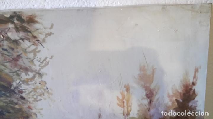 Arte: Antiguo cuadro al oleo de paisaje de bosque y rio con chopos de autor anonimo - Foto 5 - 142762026