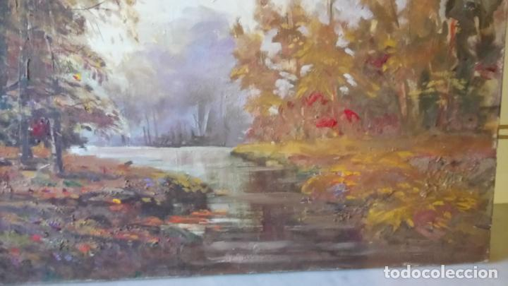 Arte: Antiguo cuadro al oleo de paisaje de bosque y rio con chopos de autor anonimo - Foto 6 - 142762026