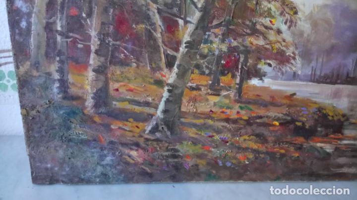 Arte: Antiguo cuadro al oleo de paisaje de bosque y rio con chopos de autor anonimo - Foto 7 - 142762026
