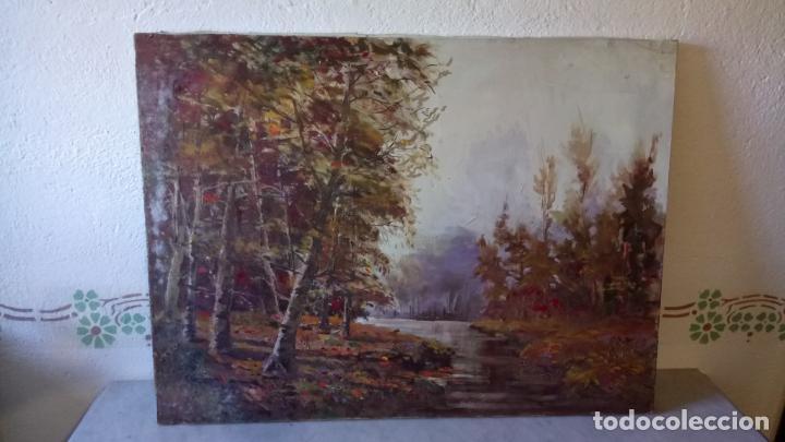 Arte: Antiguo cuadro al oleo de paisaje de bosque y rio con chopos de autor anonimo - Foto 9 - 142762026