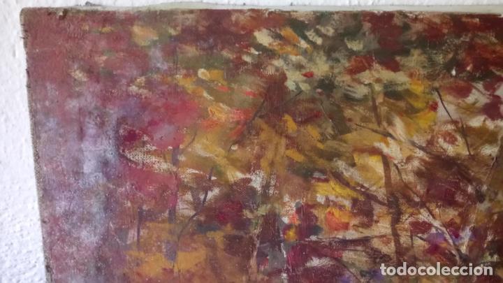 Arte: Antiguo cuadro al oleo de paisaje de bosque y rio con chopos de autor anonimo - Foto 10 - 142762026