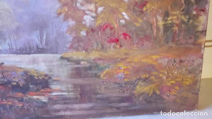 Arte: Antiguo cuadro al oleo de paisaje de bosque y rio con chopos de autor anonimo - Foto 12 - 142762026