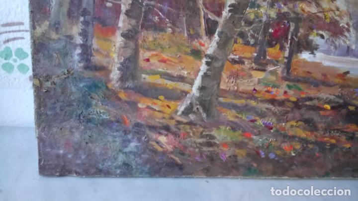 Arte: Antiguo cuadro al oleo de paisaje de bosque y rio con chopos de autor anonimo - Foto 13 - 142762026