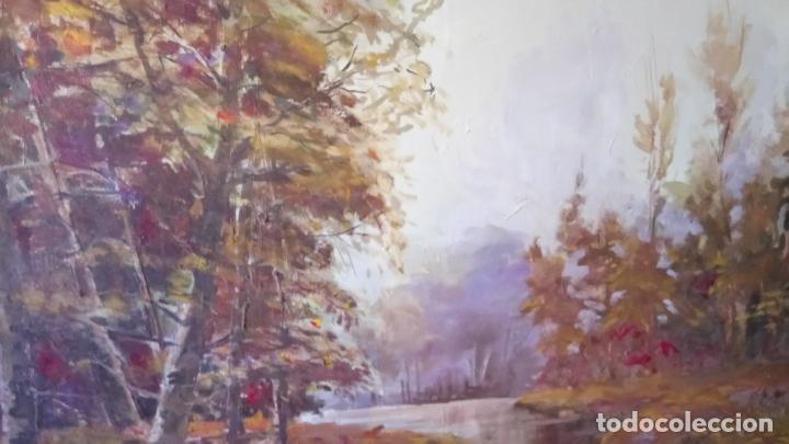Arte: Antiguo cuadro al oleo de paisaje de bosque y rio con chopos de autor anonimo - Foto 14 - 142762026