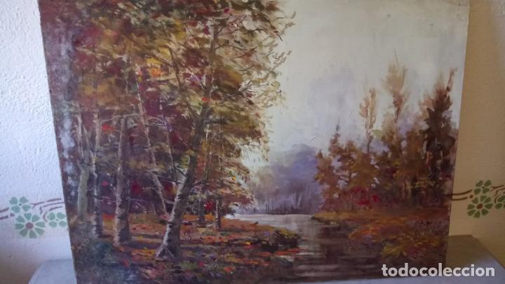 Arte: Antiguo cuadro al oleo de paisaje de bosque y rio con chopos de autor anonimo - Foto 15 - 142762026