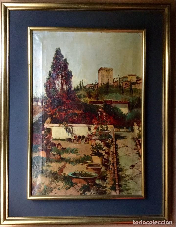 ANTONIO GOMAR Y GOMAR (1853-1911)ÓLEO DE TEMÁTICA PAISAJÍSTICA CON ESCENA DEL ALBAICÍN (Arte - Pintura - Pintura al Óleo Moderna siglo XIX)