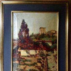 Arte: ANTONIO GOMAR Y GOMAR (1853-1911)ÓLEO DE TEMÁTICA PAISAJÍSTICA CON ESCENA DEL ALBAICÍN. Lote 142776110