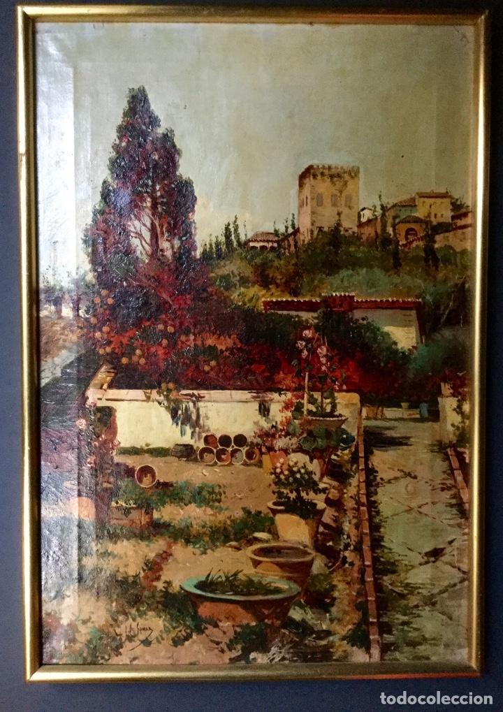 Arte: ANTONIO GOMAR Y GOMAR (1853-1911)Óleo de temática paisajística con escena del Albaicín - Foto 2 - 142776110