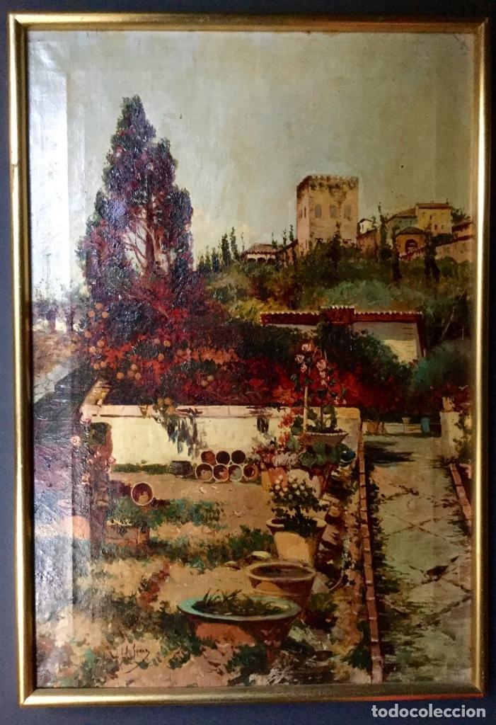 Arte: ANTONIO GOMAR Y GOMAR (1853-1911)Óleo de temática paisajística con escena del Albaicín - Foto 3 - 142776110