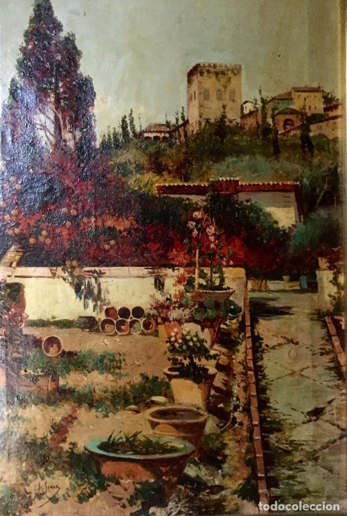 Arte: ANTONIO GOMAR Y GOMAR (1853-1911)Óleo de temática paisajística con escena del Albaicín - Foto 4 - 142776110