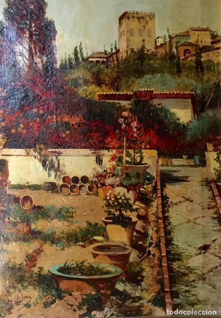 Arte: ANTONIO GOMAR Y GOMAR (1853-1911)Óleo de temática paisajística con escena del Albaicín - Foto 5 - 142776110