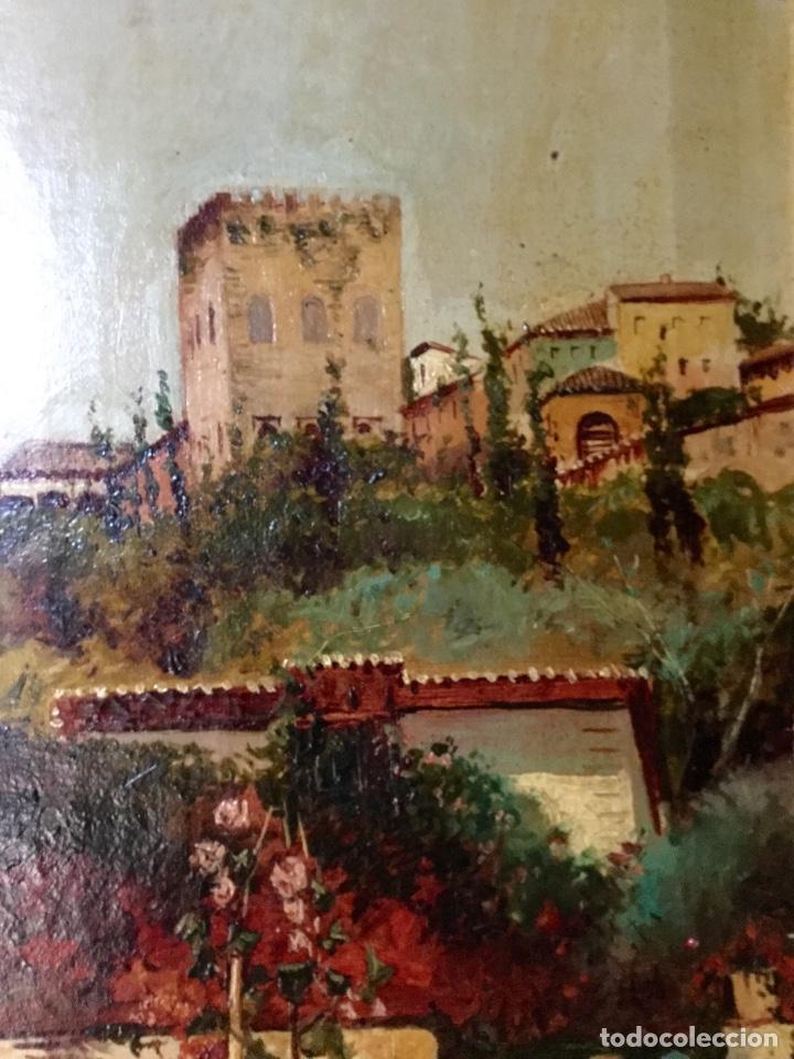 Arte: ANTONIO GOMAR Y GOMAR (1853-1911)Óleo de temática paisajística con escena del Albaicín - Foto 8 - 142776110