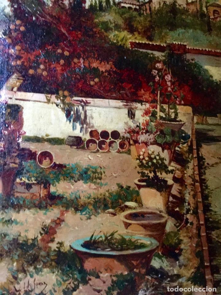 Arte: ANTONIO GOMAR Y GOMAR (1853-1911)Óleo de temática paisajística con escena del Albaicín - Foto 9 - 142776110
