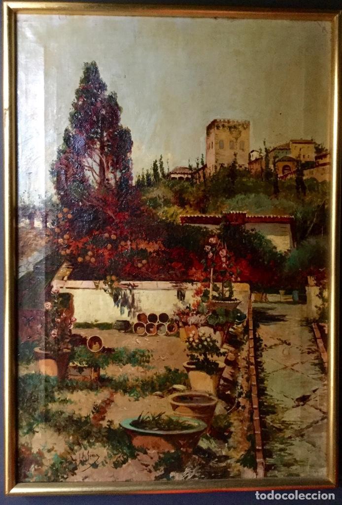 Arte: ANTONIO GOMAR Y GOMAR (1853-1911)Óleo de temática paisajística con escena del Albaicín - Foto 14 - 142776110