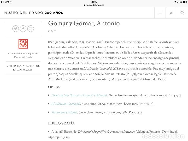 Arte: ANTONIO GOMAR Y GOMAR (1853-1911)Óleo de temática paisajística con escena del Albaicín - Foto 16 - 142776110