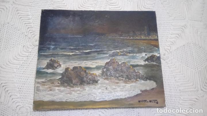 ANTIGUO CUADRO AL OLEO DE LA COSTA BRAVA DEL PINTOR CARRETERO GOMIS / MARINA NOCTURNA (Arte - Pintura - Pintura al Óleo Moderna sin fecha definida)
