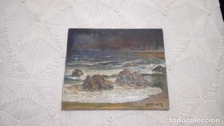 Arte: Antiguo cuadro al oleo de la costa Brava del pintor Carretero Gomis / marina nocturna - Foto 2 - 142789038