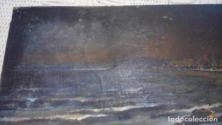 Arte: Antiguo cuadro al oleo de la costa Brava del pintor Carretero Gomis / marina nocturna - Foto 3 - 142789038