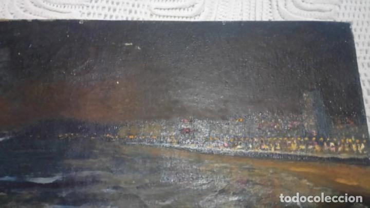 Arte: Antiguo cuadro al oleo de la costa Brava del pintor Carretero Gomis / marina nocturna - Foto 4 - 142789038