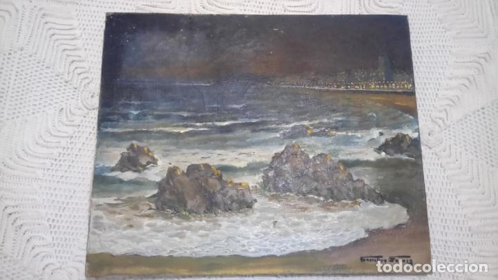 Arte: Antiguo cuadro al oleo de la costa Brava del pintor Carretero Gomis / marina nocturna - Foto 5 - 142789038
