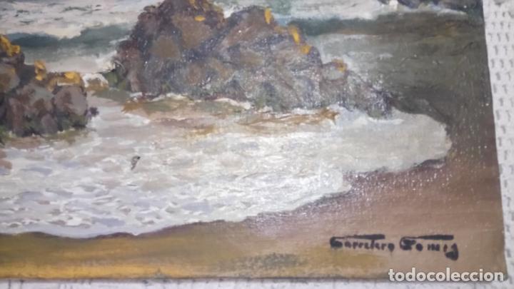 Arte: Antiguo cuadro al oleo de la costa Brava del pintor Carretero Gomis / marina nocturna - Foto 6 - 142789038