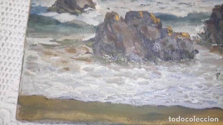 Arte: Antiguo cuadro al oleo de la costa Brava del pintor Carretero Gomis / marina nocturna - Foto 7 - 142789038
