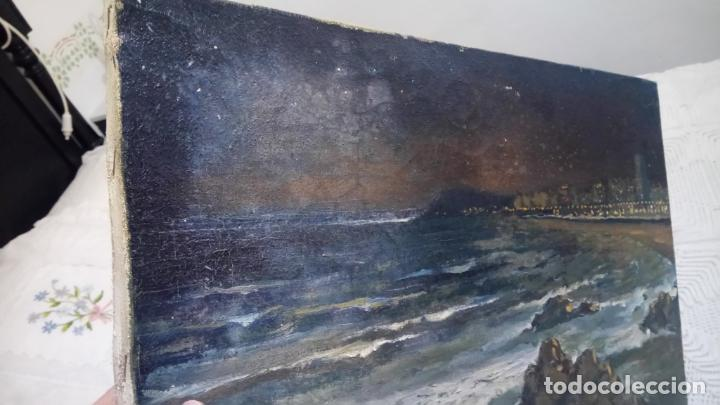 Arte: Antiguo cuadro al oleo de la costa Brava del pintor Carretero Gomis / marina nocturna - Foto 8 - 142789038