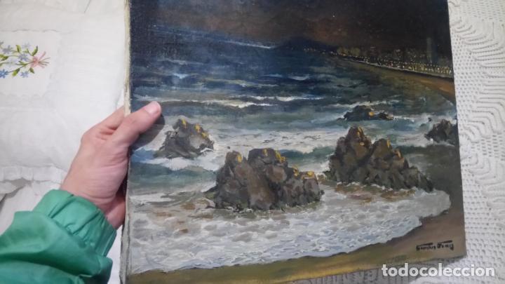 Arte: Antiguo cuadro al oleo de la costa Brava del pintor Carretero Gomis / marina nocturna - Foto 9 - 142789038