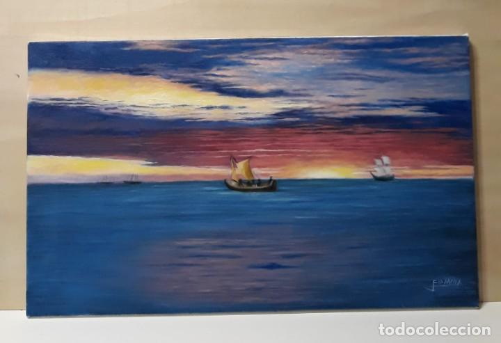 MARINA. ATARDECER. 55X33 LIENZO. FIRMADA. (Arte - Pintura - Pintura al Óleo Contemporánea )