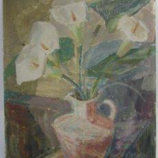 Arte: FLORERO, PINTURA AL ÓLEO SOBRE CARTÓN, FIRMA ILEGIBLE. 46X38CM. Lote 142857878