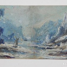 Arte: LLUIS RIGALT FARRIOLS (1814 - 1894), PAISAJE MONTAÑA, 1873, ACUARELA Y GOUACHE SOBRE PAPEL. 18X9CM. Lote 142859446