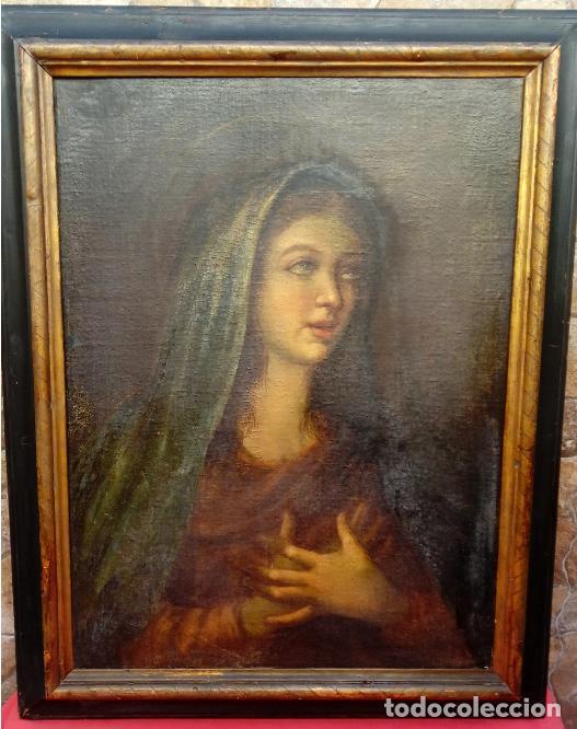 ÓLEO S/LIENZO -VIRGEN SOLEDAD-. ENMARCADO DE ÉPOCA. 96.5X76 CMS. ESCUELA ITALIANA FINALES S. XVIII. (Arte - Pintura - Pintura al Óleo Antigua siglo XVIII)