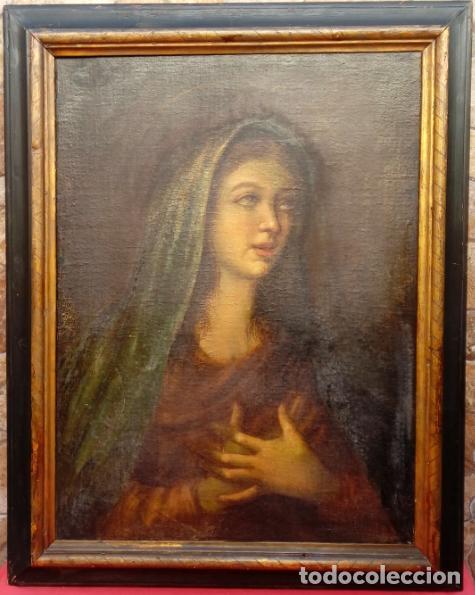 Arte: ÓLEO S/LIENZO -VIRGEN SOLEDAD-. ENMARCADO DE ÉPOCA. 96.5X76 CMS. ESCUELA ITALIANA FINALES S. XVIII. - Foto 4 - 142927526
