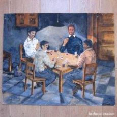 Arte: ÓLEO SOBRE TABLA PARTIDA DE CARTAS 1979 FIRMA GADEA 61 X 50 CM. Lote 143053946