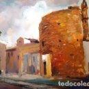 Arte: PINTURA OLEO SOBRE MADERA - CANET TORRE DE DEFENSA - DE JOSEP MARFA GUARRO - BARCELONA - Nº1 C -. Lote 143117602