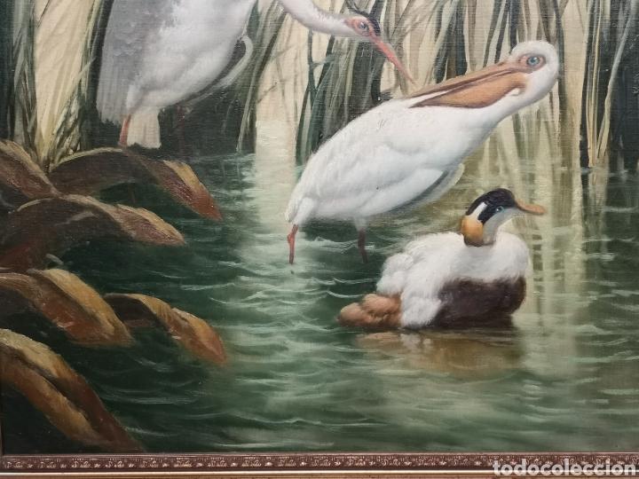 Arte: Oleo sobre lienzo, aves en el rio, escuela española, enmarcado mide 114x87cm Firmado - Foto 4 - 143149754