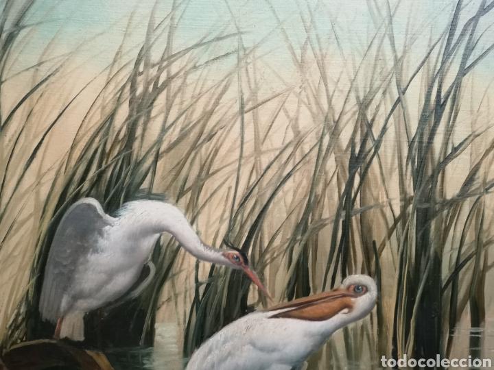 Arte: Oleo sobre lienzo, aves en el rio, escuela española, enmarcado mide 114x87cm Firmado - Foto 5 - 143149754