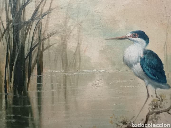 Arte: Oleo sobre lienzo, aves en el rio, escuela española, enmarcado mide 114x87cm Firmado - Foto 6 - 143149754