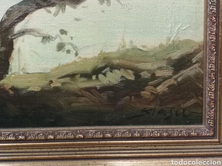 Arte: Oleo sobre lienzo, aves en el rio, escuela española, enmarcado mide 114x87cm Firmado - Foto 7 - 143149754