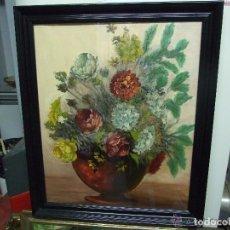 Arte: OLEO SOBRE TELA JARRON CON FLORES. Lote 143152346