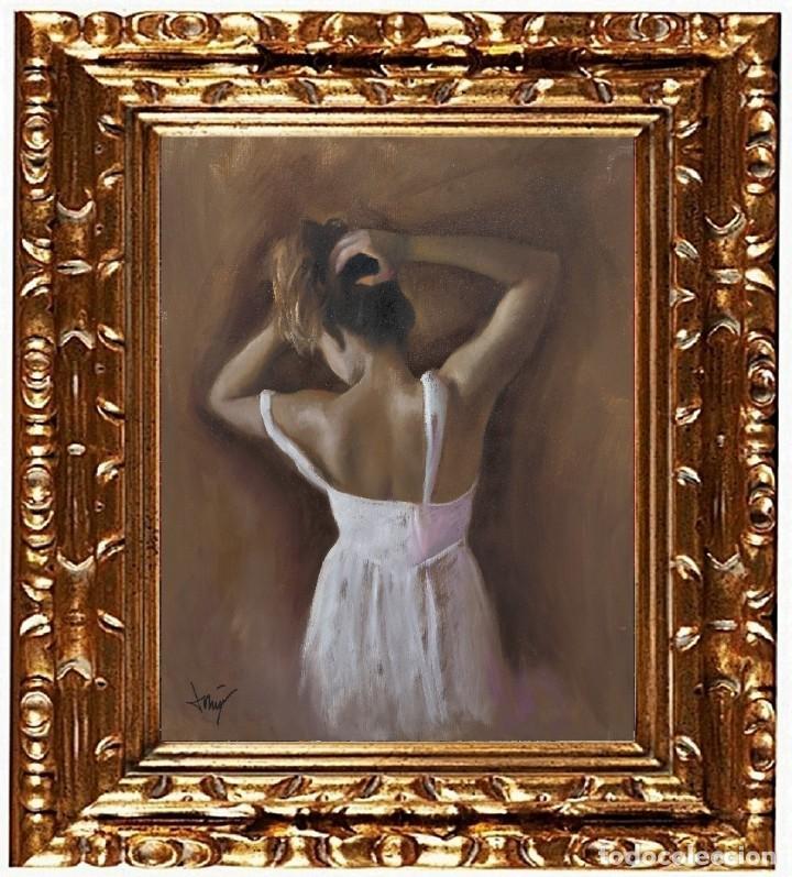 DOMINGO ALVAREZ GÓMEZ -DOMINGO - JOVEN DE ESPALDAS III, ÓLEO SOBRE TELA (Arte - Pintura - Pintura al Óleo Contemporánea )