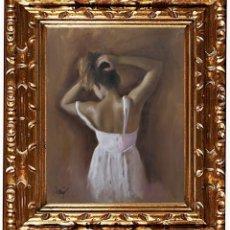 Arte: DOMINGO ALVAREZ GÓMEZ -DOMINGO - JOVEN DE ESPALDAS III, ÓLEO SOBRE TELA. Lote 143161146