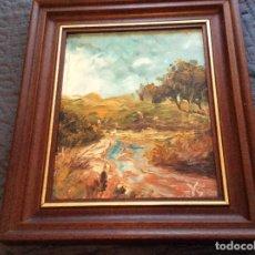 Arte: LINDISSIMA PAISAGE PINTADA A ÓLEO SOBRE MADERA PLATEX, SIN FECHA DEFINIDA. EXCEL. PRECIO DE SALIDA.. Lote 143338366