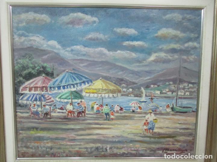 Arte: Bonita Pintura - Óleo sobre Tela - Marina - Llançà - Marsillach Codony, Joaquim (Olot 1905 - 1986) - Foto 3 - 143366006