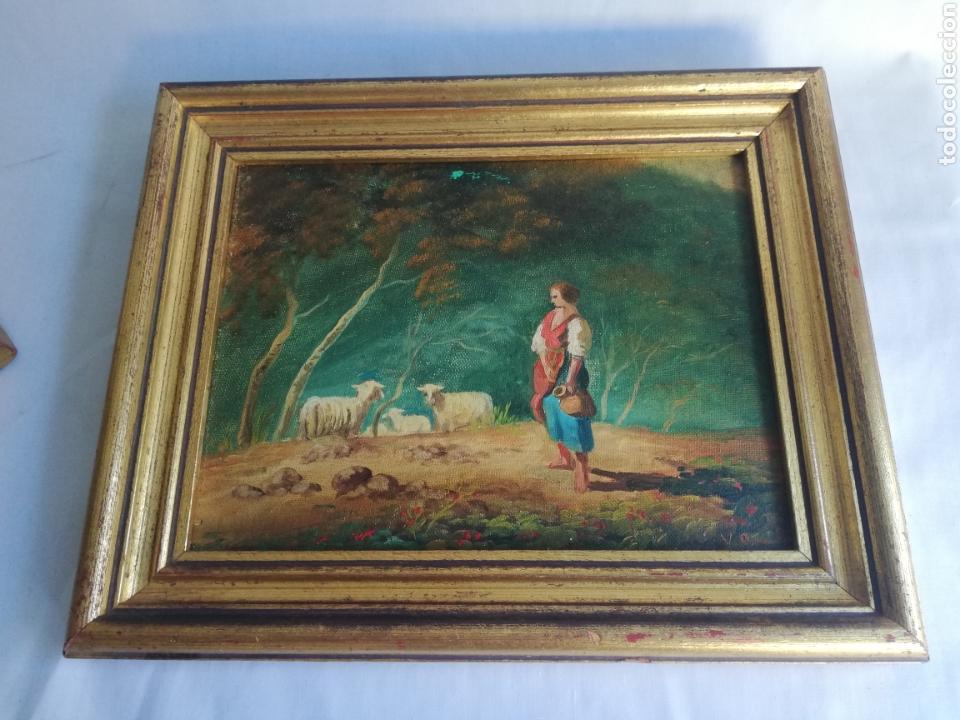 Arte: Pareja cuadros firmado pintura antigua sobre tabla tema caballo y pastora de ovejas con marco dorado - Foto 3 - 143381228