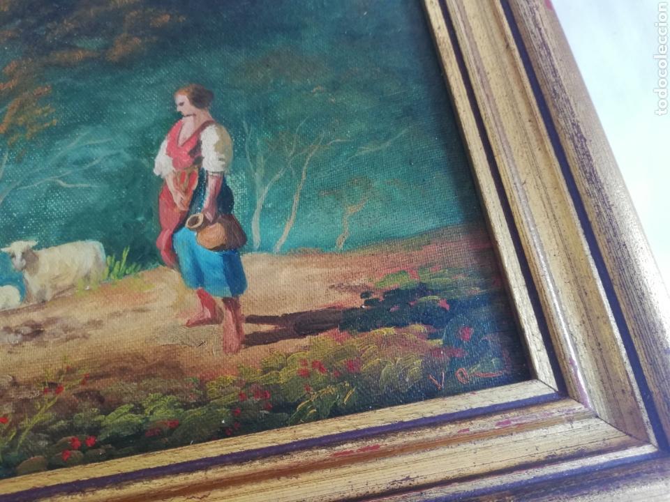 Arte: Pareja cuadros firmado pintura antigua sobre tabla tema caballo y pastora de ovejas con marco dorado - Foto 5 - 143381228
